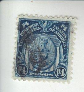Philippines 1906 4p dark blue used Scott 253