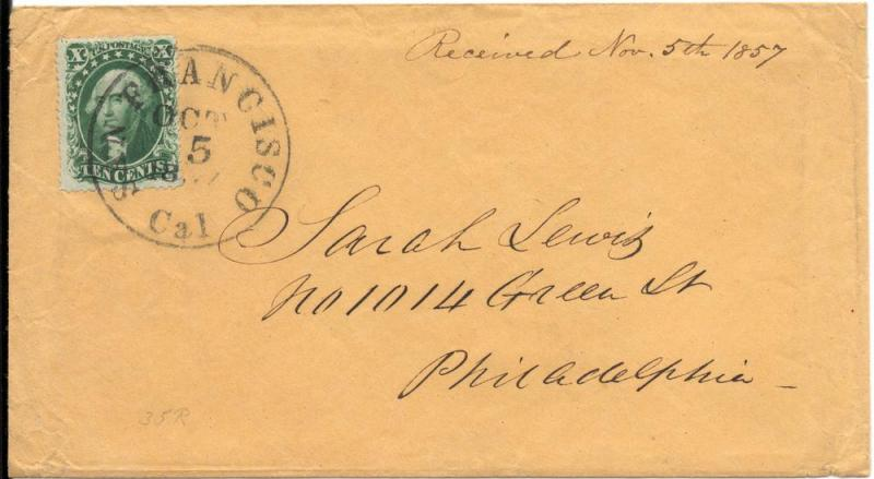 US#32 Green - Type II - On 1857 Cover