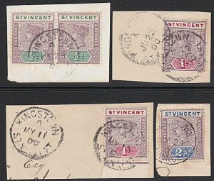 ST VINCENT 1900-02 QV values to 2½d used on 4 pieces - Kingston pmks........C618