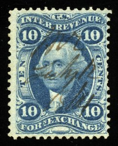 B324 U.S. Revenue Scott R35c 10c Foreign Exchange 1864 manuscript cancel