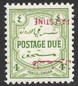 JORDAN PALESTINE OCCUPATION 1948 4m POSTAGE DUE INVERTED OVERPRINT Sc NJ3a MNH