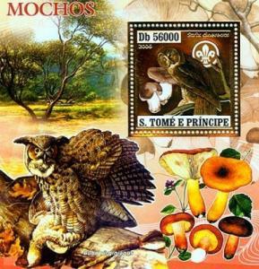 SAO TOME E PRINCIPE 2006 SHEET BIRDS MUSHROOMS OWLS GOLD st6407b