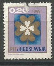 YUGOSLAVIA, 1968, used 20d, 4-Leaf Clover, Scott 957 damaged