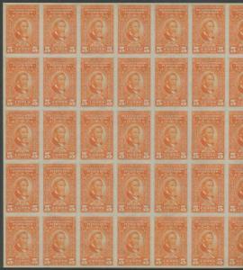 PUERTO RICO #RE38 FULL SHEET/50 5¢ RECITIFIED SPIRIT STAMPS CV $275 BS8896