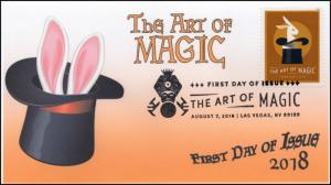 18-218, 2018, The Art of Magic, Pictorial Postmark, First Day Cover, Rabbit
