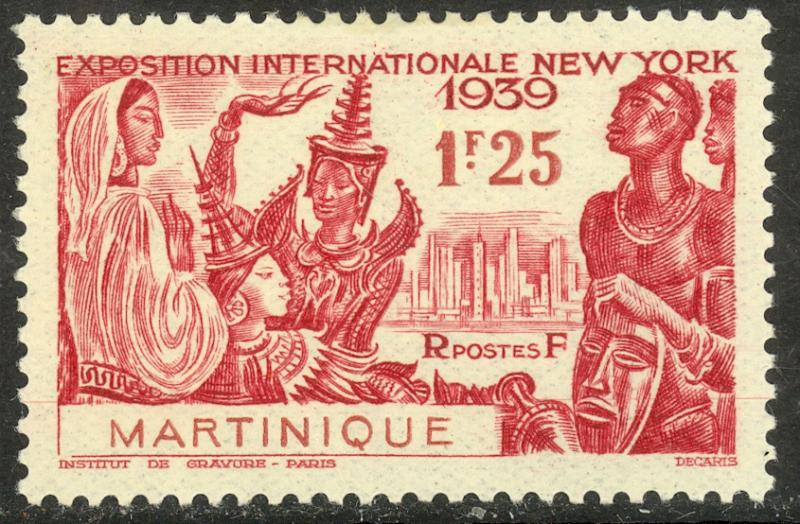 MARTINIQUE 1939 1.25fr NEW YORK WORLD'S FAIR Issue Sc 186 MLH