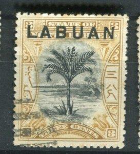 NORTH BORNEO LABUAN; 1890s classic Pictorial issue fine used 3c. value