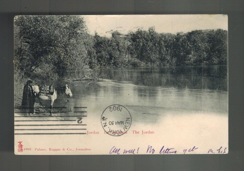 1902 Jerusalem Turkey Palestine Picture Postcard Cover to USA Jordan River