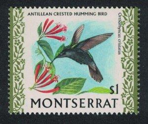 Montserrat Antillean Crested Hummingbird Bird $1 Glazed Ordinary paper 1971
