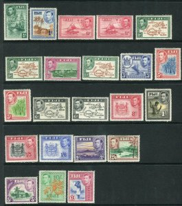 FIJI-1938-55 A mounted mint set of 22, 10/- & £1 values unmounted Sg 249-266b