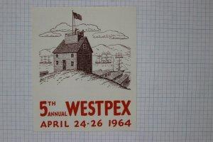 Westpex 1964 fort lookout tower SF CA bay ship harbor Philatelic Souvenir Label