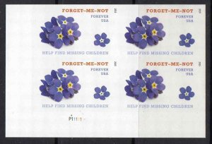4987a Plate Block Forget Me Not Forever MNH Lower Left Position Imperforate
