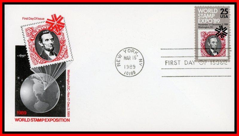 US FDC #2410 25c World Stamp Expo '89 - Artmaster Cachet