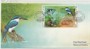 Singapore 2000 Wetland Wildlife (Care for Nature) (block of 4V) FDC SG#1060a