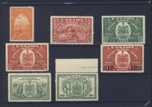7x Canada Mint S.D.  stamp #E3-6-7-8-9-10-11 4x MH 3x MNH Guide Value= $154.00