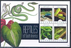 GUYANA 2012 REPTILES OF SOUTH AMERICA  SNAKES LIZARDS SHEET I  MINT  NH
