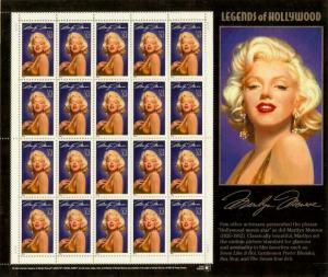 2967 Marilyn Monroe Missing Star Perf (Different Variety) Error Sheet Mint NH