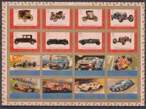 Ajman, Mi cat. 2749-2764 B. Racing Cars and Antique Autos, IMPERF sheet of 16. ^