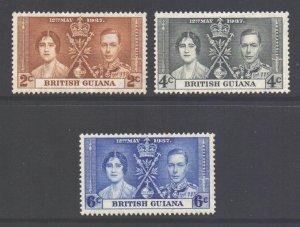 British Guiana Scott 227/229 - SG305/307, 1937 Coronation Set MH*