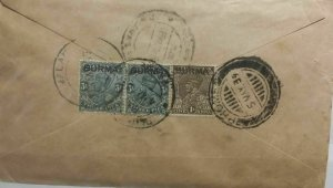 Burma Postal History 1939 Cover Prome to S India Via Madras