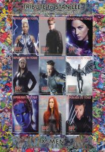 Chad Superheroes Stamps 2018 MNH X-Men Wolverine Stan Lee Comics Movies 9v M/S