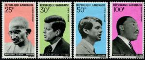 HERRICKSTAMP GABON Sc.# C78-81 Gandhi, M.L.King, Kennedy Mint NH