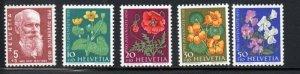 Switzerland Sc B287-91 1959 Pro Juventute Flowers stamp set mint NH
