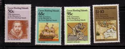 Cocos Islands Sc115-8 1984 375th anniv Discovery stamp set