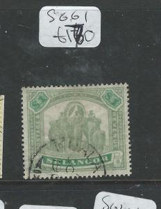 MALAYA SELANGOR (P2907B) $1.00 ELEPHANT SG 61  VFU