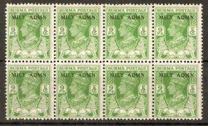 BURMA SG38 CW20/a 1945 9p 4-DOUBLY PRINTED MNH BLK 8