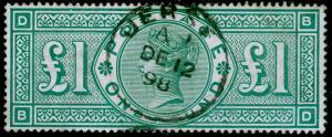 SG212, £1 green, VFU, CDS. Cat £800. BD