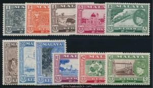 1957 Malaya Kedah Portrait of Sultan Badilshah Set of 11 SG92-102 MH