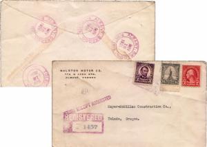 United States Oregon Albany Registered 1926 violet double ring  2c Washington...