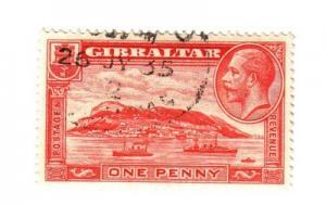 Gibraltar Sc 96 1931 1d red G V & ship stamp used