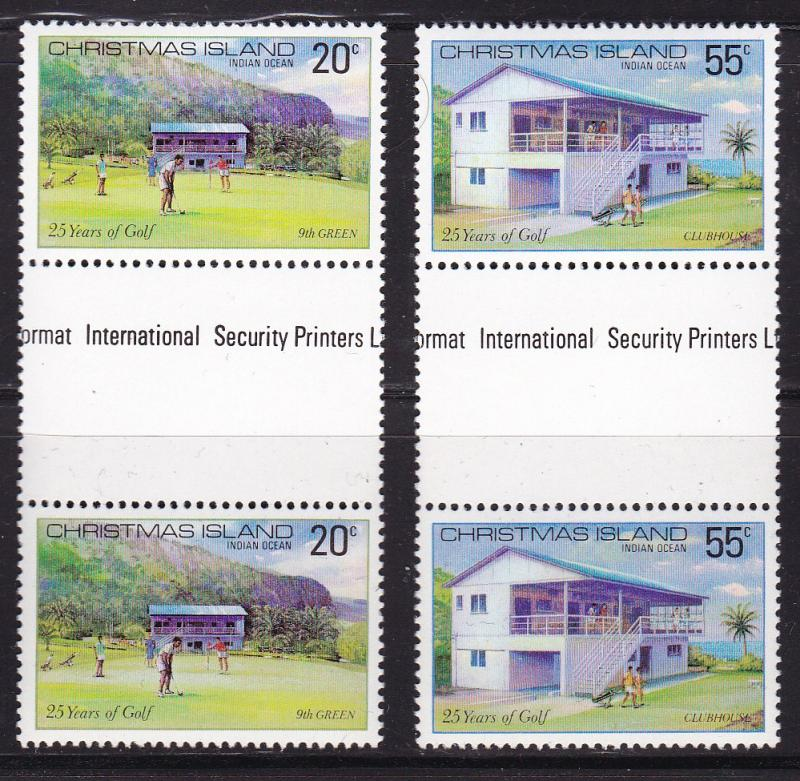 Christmas Island 1979 GOLF issue in Gutter Pairs  VF/NH