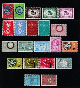 Belgium a MNH lot of pairs & sets Europa theme