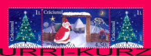 MOLDOVA 2007 Holiday Christmas Fur-tree Santa Claus 3v se-tenant 575-576 MNH