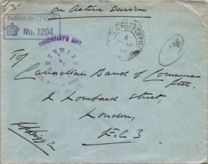 UK > Canadian Bank of Commerce London Censored WWII Active Service time stamp
