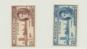 Nigeria Scott #71 To 72, Two Stamp Peace With George VI, British Commonwealth...