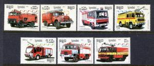 Cambodia 823-829, MNH Fire Trucks 1987. x29994