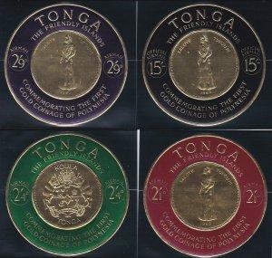 Tonga # 128-133, C1-6, CO7, Gold Coinage Self Adhesives, NH, 1/2 Cat.