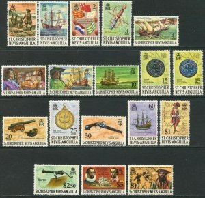 ST. KITTS-NEVIS Sc#206-222, 222A 1970-74 Pirates Definitives Cpl Set OG Mint LH