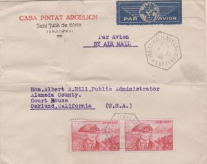 Andorra French Administration 25F Provost (2) 1946 St. Julien de Loria, Val. ...