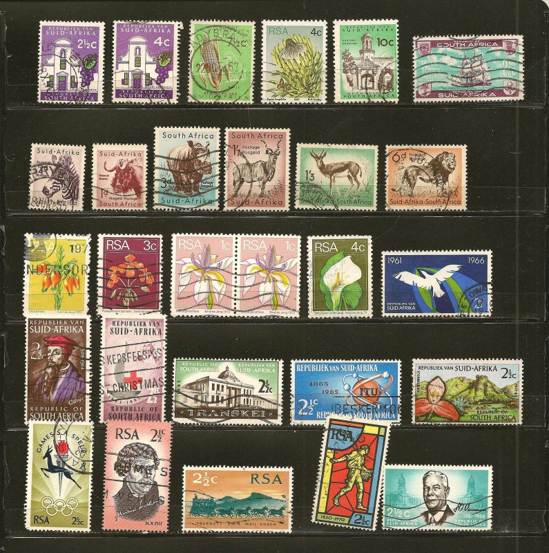 South Africa Collection of 27 Different 1950's-1970's Stamps Used