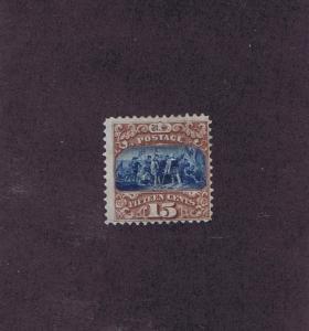 SC# 118 UNUSED DIST OG HINGED 15c LANDING OF COLUMBUS, TYPE I, 1869.
