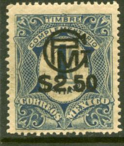 MEXICO 603, $2.50P ON 1¢ INFLATION SURCHARGE. UNUSED, H OG. VF.