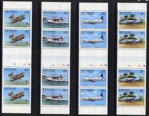 Tuvalu 142-5 vertical gutter pair strip Plate 1B MNH Aircraft
