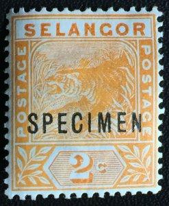 Malaya 1895 SPECIMEN opt Selangor Tiger 2c MH SG#51s M2472