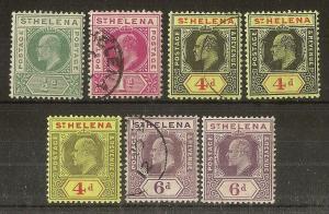 St Helena 1902-1911 EDVII Mint & Used Range (7v)