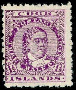 COOK ISLANDS SG14a, 1½d deep mauve, UNUSED. Cat £12.